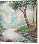 Landscape With River Wood Print