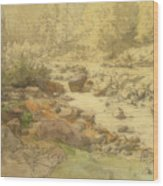 Landscape With Rocks In A River Wood Print