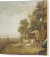 Landscape With Shepherds And Shepherdesses Near A Well Wood Print
