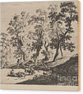 Landscape With Shepherds Wood Print