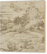 Landscape With St. Theodore Overcoming The Dragon Wood Print