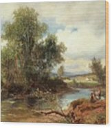 Landscape With Stream And Decorative Figures Wood Print