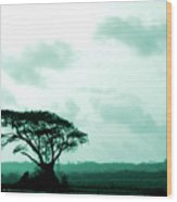 Landscape With Tree Wood Print