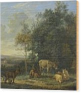 Landscape With Two Donkeys, Goats And Pigs Wood Print