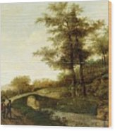 Landscape With Village Path And Men Wood Print