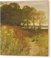 Landscape With Wild Flowers And Rabbits Wood Print