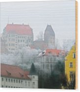 Landshut Bavaria On A Foggy Day Wood Print by Christine Till