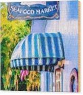 Lang's Marina Seafood Market Wood Print