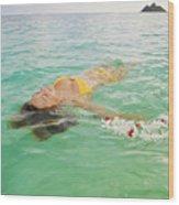 Lanikai Floating Woman Wood Print