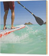 Lanikai Stand Up Paddling Wood Print
