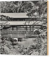 Lanterman's Mill Covered Bridge Black And White Wood Print