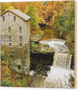 Lantermans Mill In Fall Wood Print
