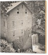 Lanterman's Mill In Mill Creek Park Black And White Wood Print