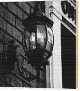Lantern Black And White Wood Print
