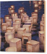 Lantern Floating Ceremony Wood Print