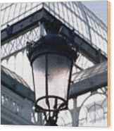Lantern In Front Of The Crystal Palace, Madrid Wood Print