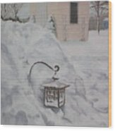 Lantern In The Snow Wood Print