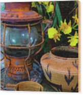 Lantern With Baskets Wood Print