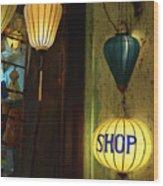 Lanterns At A Gift Shop Entrance Wood Print