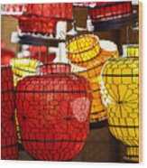 Lanterns In Market Place Wood Print