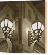 Lanterns - Night In The City - In Sepia Wood Print