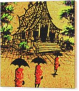 Procession To Temple, Lao Collection Wood Print