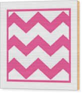 Large Chevron With Border In French Pink Wood Print