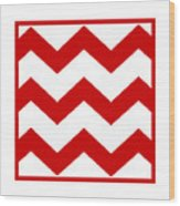 Large Chevron With Border In Red Wood Print