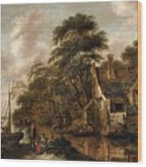 Large Farmstead On The Bank Of A River Wood Print