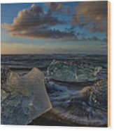 Large Icebergs At Dawn #4 - Iceland Wood Print