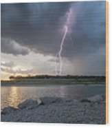 Large Lighting From Dark Clouds During Sunset At Large Lake Wood Print
