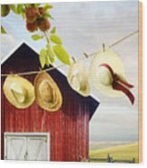 Large Red Barn With Hats On Clothesline In Field Of Wheat Wood Print