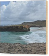 Large Rock Formation In Aruba's Boca Keto Beach Wood Print