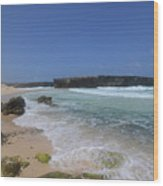 Large Rock Formation On The Beach At Boca Keto Wood Print