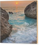 Large Rocks And Wave With Sunset On Paradise Island Greece Wood Print