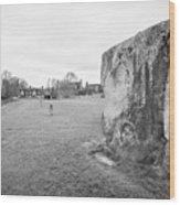 Large Sarsen Stone Part Of The Outer Ring Stone Circle Avebury Stone Circles Wiltshire England Uk Wood Print