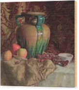 Large Vase With Apples Wood Print
