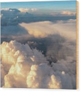 Large White Cloud From Passanger Airplace Window At Sunset Wood Print