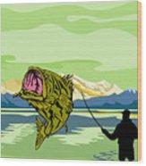 Largemouth Bass Fish Jumping Wood Print