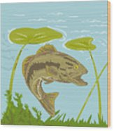 Largemouth Bass Fish Swimming Underwater  Wood Print by Aloysius Patrimonio