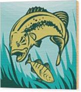 Largemouth Bass Preying On Perch Fish Wood Print by Aloysius Patrimonio