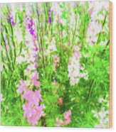 Larkspur Flowers In Soft Oil Style Wood Print