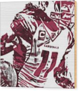 Larry Fitzgerald Arizona Cardinals Pixel Art 1 Wood Print