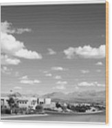 Las Cruces Mountains Black And White Wood Print