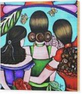 Las Tres Rosas Wood Print