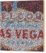 Las Vegas Sign Poker Chip Mosaic Wood Print