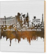 Las Vegas Skyline City Brown Wood Print