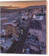 Las Vegas Strip Aloft Wood Print