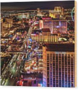 Las Vegas Strip North View Night 2 To 1 Ratio Wood Print