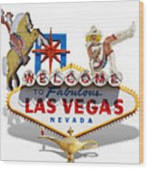 Las Vegas Symbolic Sign On White Wood Print